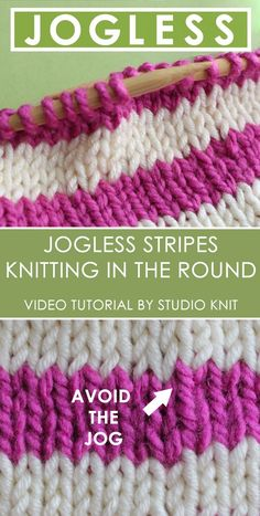 The Perfect Knitted Stripes! Learn How to Knit Jogless Stripes in the Round with Video Tutorial by Studio Knit. Either on your circular or double-pointed needles, when changing yarn colors for horizontal stripes, this little trick will help keep your yarn change edges looking clean. #StudioKnit #howtoknit #knitting via @StudioKnit