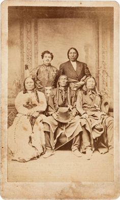 Sitting Bull, Swift Bear, Spotted Tail, Red Cloud and Julius Meyer. By Frank Currier Omaha, Nebraska with E. L. Eaton Omaha studio imprint verso. Julius Meyer, Omaha Trader and Indian Interpreter met with the four chiefs in Omaha May, 1875, on  their way to Washington to meet President Grant regarding troubles  in the Black Hills. Sitting Bull is not to be confused with the Hunkpapa Sioux chief.