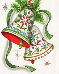 bells  Vintage Christmas Card