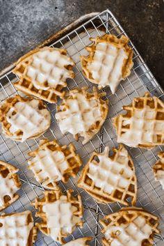 Mini Apple Fritter Waffles (gluten free and paleo) - Savory Lotus Best Crispy Waffle Recipe, Waffle Recipes, Gluten Free Waffles, Paleo Dessert, Paleo Sweets, Paleo Food, Dessert Recipes, Desserts, Apple Fritters