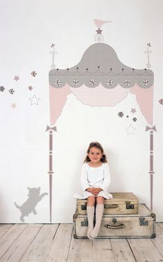 Headboard peel & stick wall decal! How creative (and cost-effective ha!)