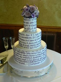Wedding cake with First Corinthians printed on the cake
