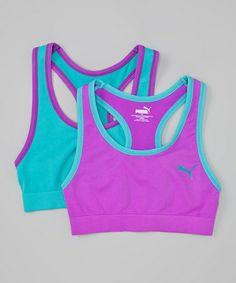 Loving this Turquoise & Purple Sports Bra Set - Girls on #zulily! #zulilyfinds