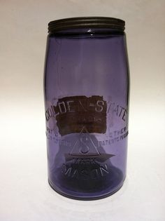 ANTIQUE RARE GOLDEN-STATE MASON PURPLE HUGE 1/2 GALLON JAR OVER 100 YEARS OLD!