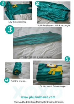 1. Lay the onesie flat. 2. fold the sleeves to make your first rectangle. 3. Fold in half. 4 and 5: Roll up or fold into a smaller rectangle for storage.