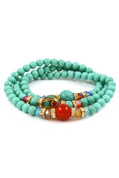 Beautiful Turquoise, Crystals amp; Agate Bracelet |Jewelry - Daily Deals|