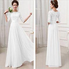 long white bridesmaid dress ,chiffon bridesmaid dress with lace ,cheap custom bridesmaid dress,party prom dress,BD17186