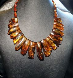 Baltic Amber Collar Necklace Vintage Natural by ElegantArtifacts, $140.00