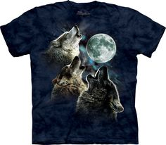 The Mountain Three Wolf Moon in Blue T-Shirt