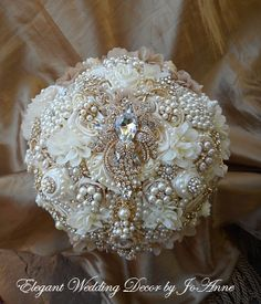 Custom 9 Ivory Cascading Pearl Brooch Bouquet with all Gold Brooches, Ivory and Gold Wedding Bouquet, Custom Bouquet, Brooch Bouquet, Broach Bouquet, Vintage Glam Bouquet, VIntage Wedding, Wedding Bouquet - $555.00 Full Price - Deposit = $350.00 - Balance Due when Complete =