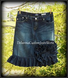 Of The Rose Jean Skirt Custom Order to Your by CustomJeanSkirts, $58.00