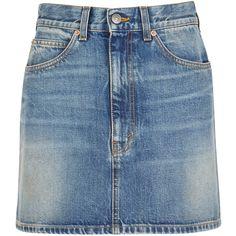 Gucci Blue Denim Mini Skirt - Size 12 (26.405 UYU) ❤ liked on Polyvore featuring skirts, mini skirts, high waisted denim skirt, denim skirt, short skirts and high-waisted skirt