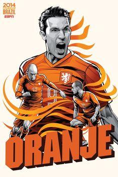 ESPN wordld cartel de la FIFA Brasil 2014 de los Países Bajos