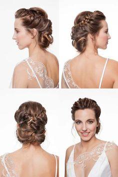 Un look romántico con un peinado con trenzados y retorcidos en el cabello y un maquillaje de aspecto muy sencillo, elaborado en una escala de tonos suaves. #makeup #bride #wedding