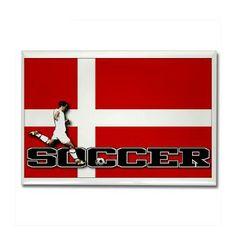 Denmark Flag Soccer Rectangle Magnet #Magnets