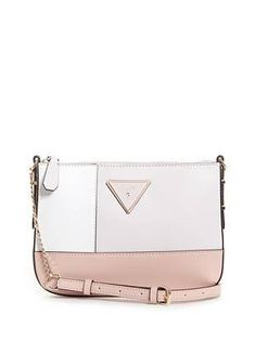 Kamryn Color-Block Logo Mini Crossbody at Guess Triangle Logo, Guess Girl, Guess Bags, Girly Outfits, My Bags, Purses And Handbags, Girly Things, Jewelry Accessories, Mini