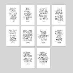 SALE! Disney Winnie the Pooh quote prints nursery decor, inspirational quote kids wall art, christmas gifts, pooh poster set of 10, ET204 by artRuss on Etsy