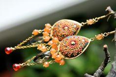 Autumn Colors Statement earrings with Grapefruit by Peelirohini, $80.00