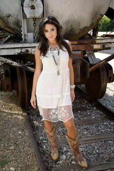 Lace dress & cowboy boots