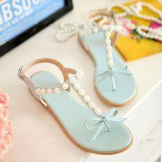 Adorable Pastel Blue Pearls and Bows T Strap Sandals Women's Shoes, Mules Shoes, Sock Shoes, Me Too Shoes, Shoe Boots, Blue Sandals, T Strap Sandals, Ballerina Pumps, Lace Up Flats