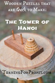 Wooden puzzles always attract lots of attention at craft fairs and shows. The Tower of Hanoi is easy to make with a rectangular base and turned discs as the pieces. Made from wood, the pieces and the base are attractive to our tactile and visual senses.