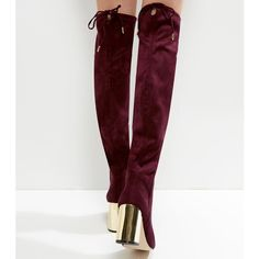 New Look Wide Fit Burgundy Suedette Over The Knee Metal Heeled Boots (£25) ❤ liked on Polyvore featuring shoes, boots, dark red, over the knee high heel boots, heeled boots, over the knee heel boots, round toe boots and high heel boots
