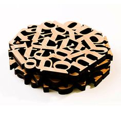 Letter coasters, by Veer. (Unfotunately, Veer doesn't sell merch anymore. So these are just a dream.)