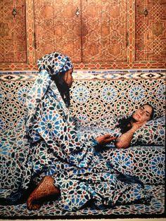 Moroccan artist Lalla Essaydi, Harem # on subverting Orientalist imagery Artistic Fashion Photography, Creative Photography, Photography Basics, Moroccan Print, Moroccan Room, Arabian Women, Blue City, Modern Art Paintings, Museum Of Modern Art