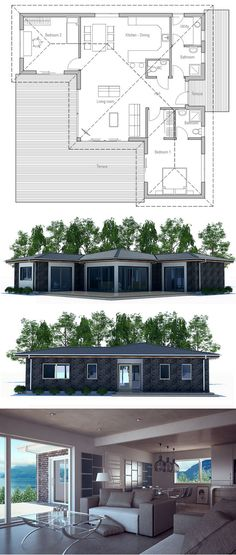 2 bedroom house plan with a good use of windows. #houseplans #singlestoreyhomeplans