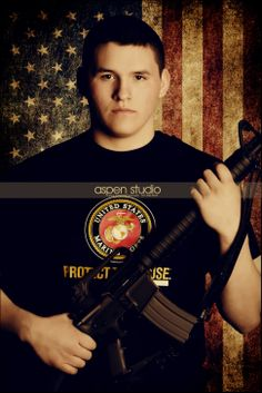 Future marine; love the American flag, but not the pose with gun.