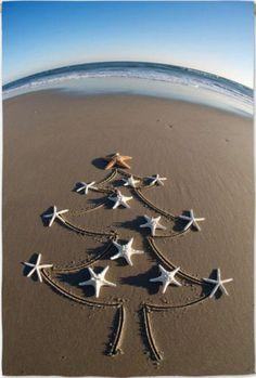 Christmas tree on the beach garden flag. Via eBay.