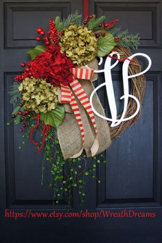 Rustic Holiday Grapevine Wreath. Burlap Wreath. Christmas Wreath. Winter Wreath. House Warming Gift. Christmas Gift. by WreathDreams on Etsy https://www.etsy.com/listing/209356992/rustic-holiday-grapevine-wreath-burlap