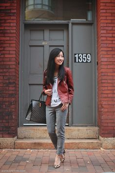 ExtraPetite.com - Nordstrom Petites: Cognac leather jacket and grey skinny jeans