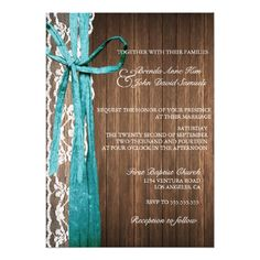 Country Wedding Invitations Country Rustic Lace Wood Wedding Invitation