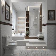 salle de bain moderne en blanc et gris clair avec une mosaïque grise, déco murale arabesques et niches lumineuses élégantes