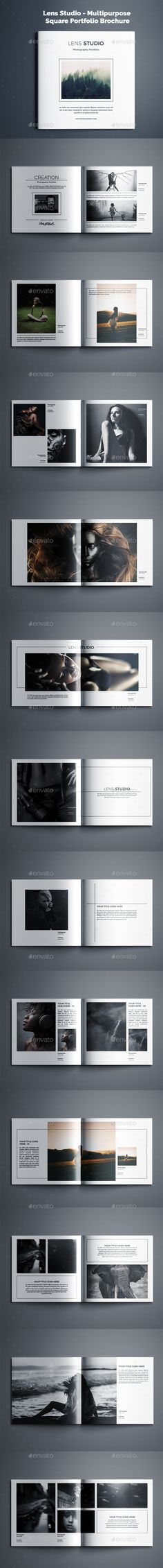Lens Studio  Multipurpose Square Portfolio Brochure — InDesign INDD #20x20 #grey • Download ➝ https://graphicriver.net/item/lens-studio-multipurpose-square-portfolio-brochure/19231084?ref=pxcr