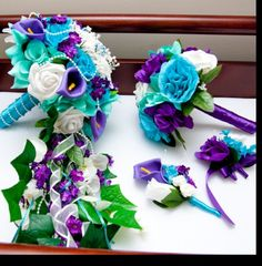 Wedding bouquet purple and teal