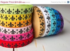 ON SALE Fleur De Lis Elastic - Fleur de lis FOE - Sample Pack - 12 Yards Total on Etsy, $9.78