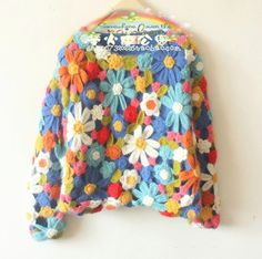 Granny knitting I can get behind! Really adorable. What's $788 in China? - Japan's export vintage original single rainbow handmade double crochet hollow Ancient Forest Department retro sweater - Taobao