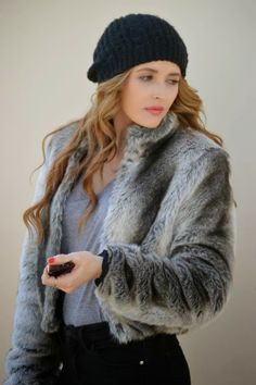 """beanie + fur coat ...""""Styled By"""" clothing idea"""