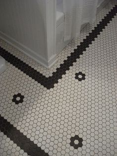 hexagon tile bathroom floor patterns -thick boarder (3 tiles)                                                                                                                                                                                 More