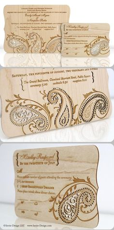 """Paisley wood invitation intricately laser cut into reclaimed 1/16"""" wood planks. Great for an upscale rustic vintage wedding. Or an Indian wedding.  http://www.invite-design.com/#!product/prd12/2202404745/paisley-invitation"""
