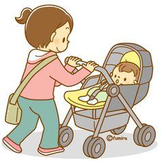Bebê de andar no carrinho de criança ea mãe de ilustrações (software)