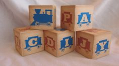 Train Railroad Transportation Alphabet 5 Wood by TheBlockSpot, $22.50 Nursery Baby Shower Décor