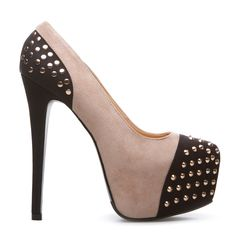 ALLI 3 shoes  Do a double-take with this sculptural platform pump: a sky-high heel, curvaceous colorblocking and feisty spiked studs will do all the talking for you. Slip on a lace-trimmed LBD and delicate jewelry to soften up the look. Love the two-tone trend that's everywhere, from heels to handbags.