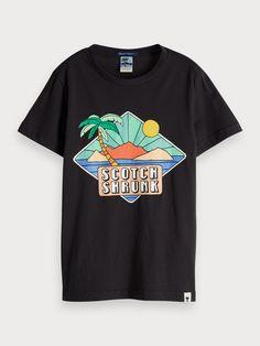 Scotch & Soda Summer Artwork T-Shirt Scotch Shrunk, Scotch Soda, Boys Bomber Jacket, Scottish Clothing, Banana Art, Summer Suits, Striped Jacket, Boys Sweaters, Boys Hoodies