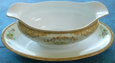 NORITAKE LEONA Pattern Gravy Boat with Attached Underplate. $24.99, via Etsy.