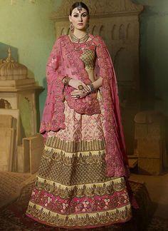 Impeccable Art Silk Pink A Line Lehenga Choli