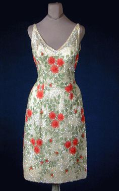 Mignon Beaded and Sequined Red Flower Cocktail Dress1960s