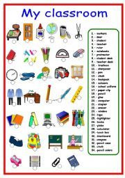 English worksheet: Classroom objects and school supplies